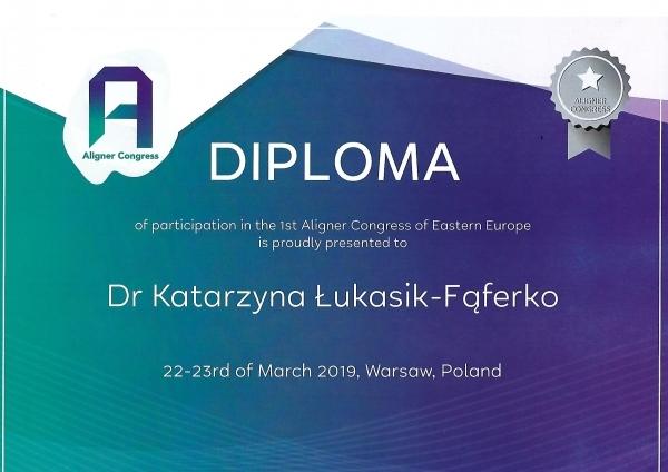 Certyfikat - Kasia Łukasik-Fąferko Warszawa 2019
