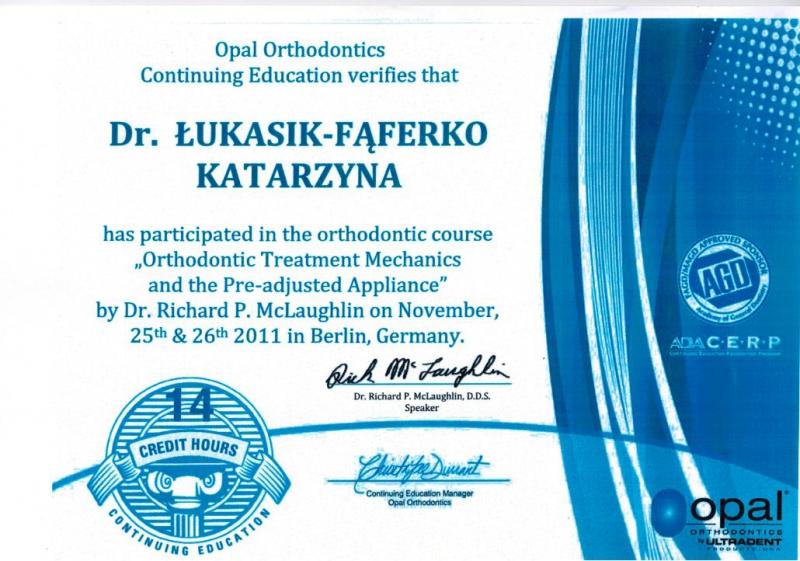 Katarzyna Lukasik-Faferko, ortodoncja 1