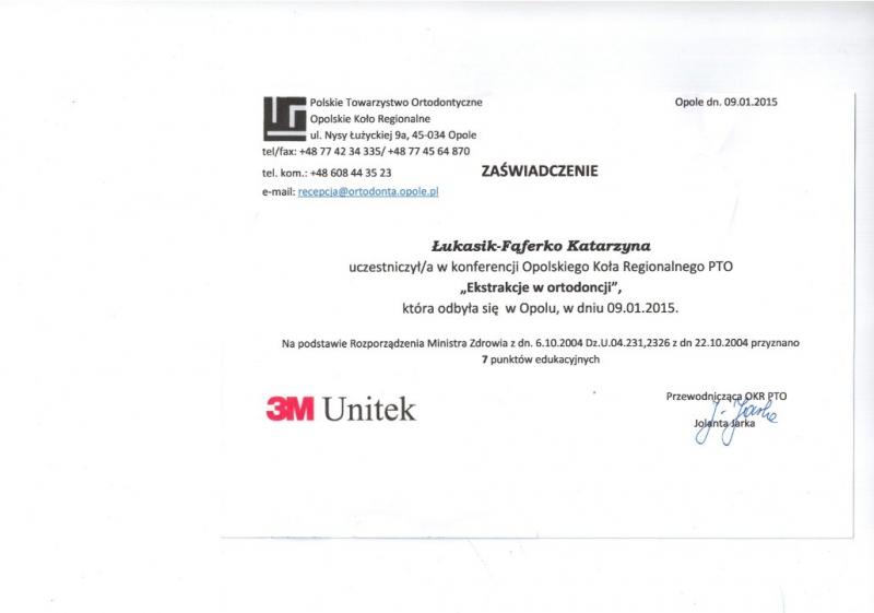 Katarzyna Lukasik-Faferko, ortodoncja 10