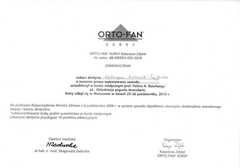 Katarzyna Lukasik-Faferko, ortodoncja 12