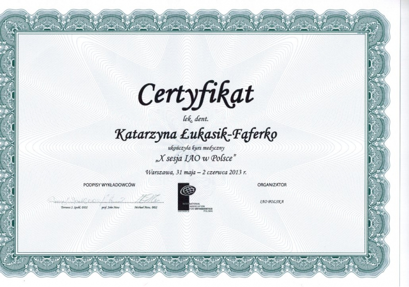 Katarzyna Lukasik-Faferko, ortodoncja 16