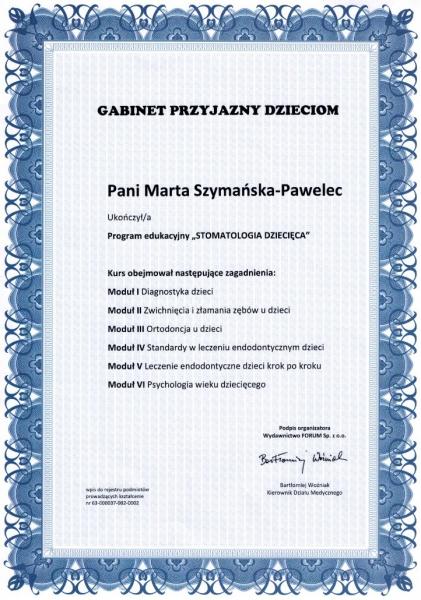 Marta Szymanska-Pawelec, stomatologia dziecieca 1