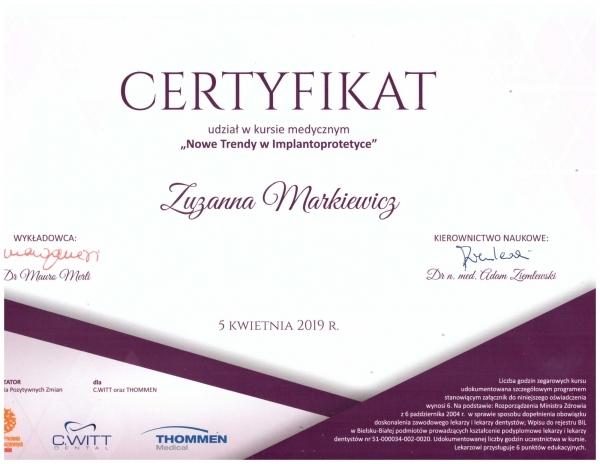 Zuzanna Markiewicz - nowe trendy w implantoprotetyce